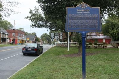 Dagsboro Marker as seen looking north along Main Street image. Click for full size.