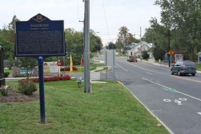 Dagsboro Marker, seen looking back south along Main Street image. Click for full size.
