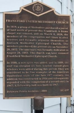 Frankford United Methodist Church Marker image. Click for full size.