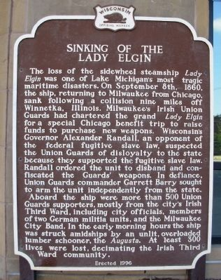 Sinking of the Lady Elgin Marker image. Click for full size.
