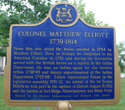 Colonel Matthew Elliott Marker image. Click for full size.