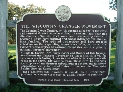 The Wisconsin Granger Movement Marker image. Click for full size.