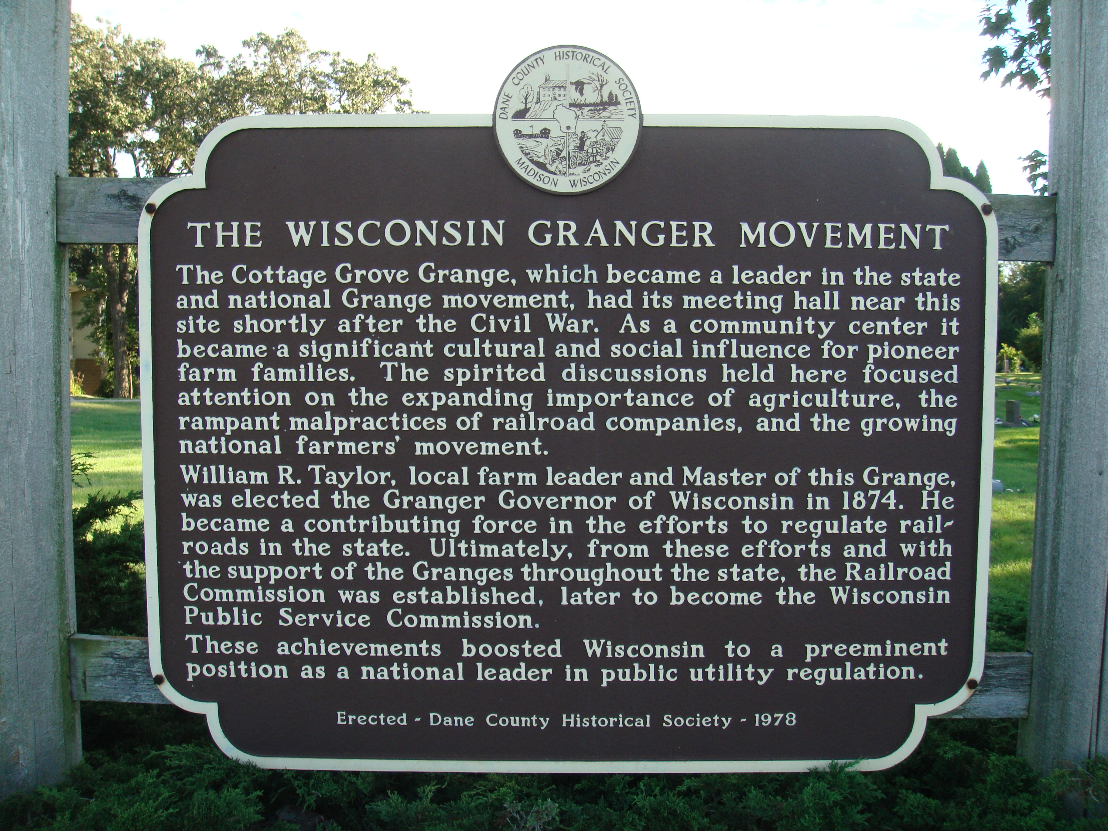 The Wisconsin Granger Movement Marker