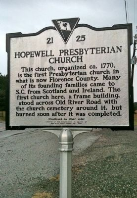 Hopewell Presbyterian Church Marker (front) image. Click for full size.