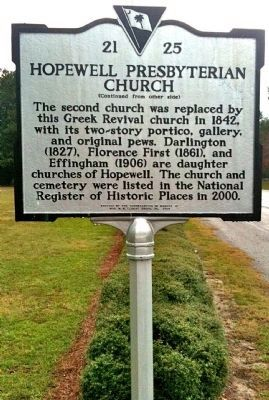 Hopewell Presbyterian Church Marker (reverse) image. Click for full size.