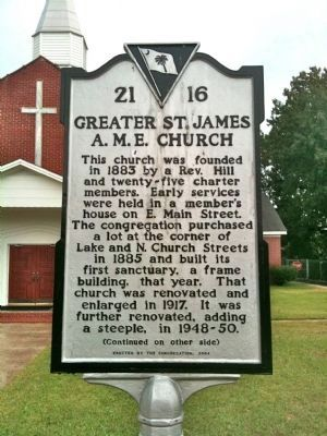Greater St. James A.M.E. Church Marker (front) image. Click for full size.