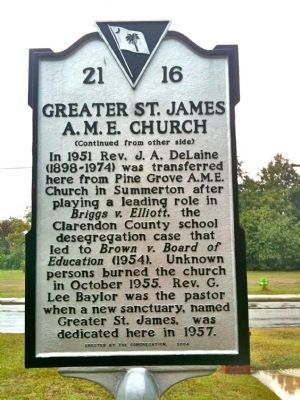 Greater St. James A.M.E. Church Marker (reverse) image. Click for full size.