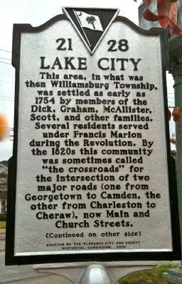 Lake City Marker (front) image. Click for full size.