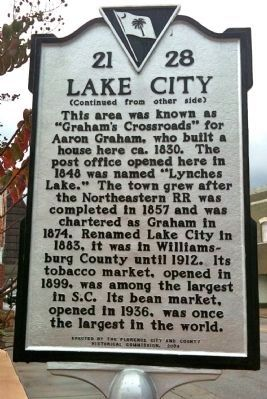 Lake City Marker (reverse) image. Click for full size.
