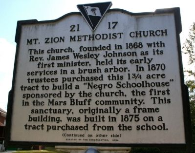 Mt. Zion Methodist Church Marker (front) image. Click for full size.