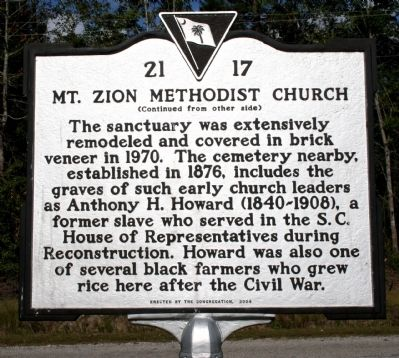 Mt. Zion Methodist Church Marker (reverse) image. Click for full size.