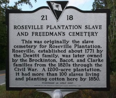 Roseville Plantation Slave And Freedman's Cemetery Marker image. Click for full size.