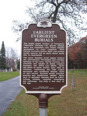 Earliest Evergreen Burials Marker image. Click for full size.