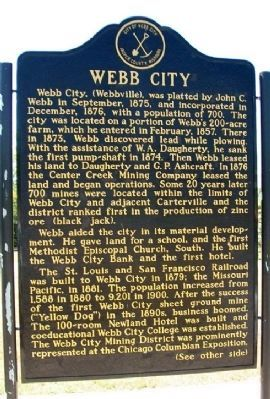 Webb City Marker (front) image. Click for full size.