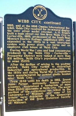 Webb City Marker (back) image. Click for full size.