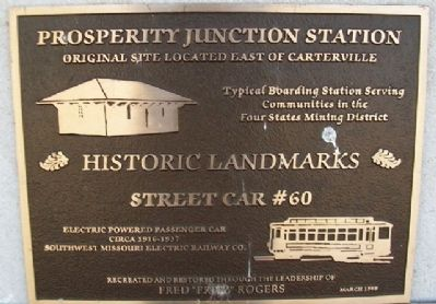 Prosperity Junction Station and Street Car #60 Marker image. Click for full size.