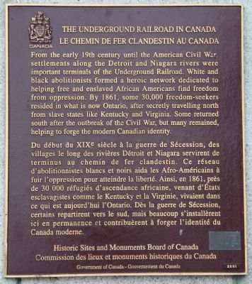 The Underground Railroad in Canada Marker image. Click for full size.