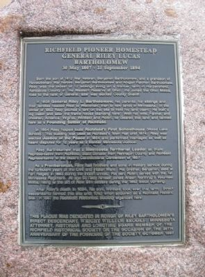 Richfield Pioneer Homestead Marker image. Click for full size.