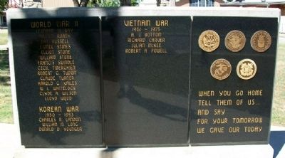 Webb City Veterans Memorial Honor Roll image. Click for full size.