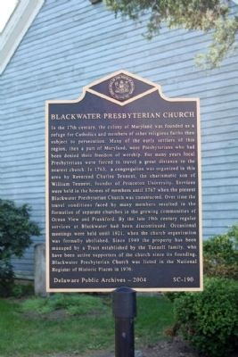 Blackwater Presbyterian Church Marker image. Click for full size.