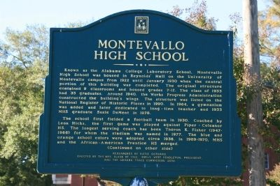Montevallo High School Marker Side A image. Click for full size.