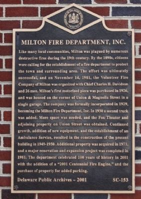 Milton Fire Department, Inc. Marker image. Click for full size.
