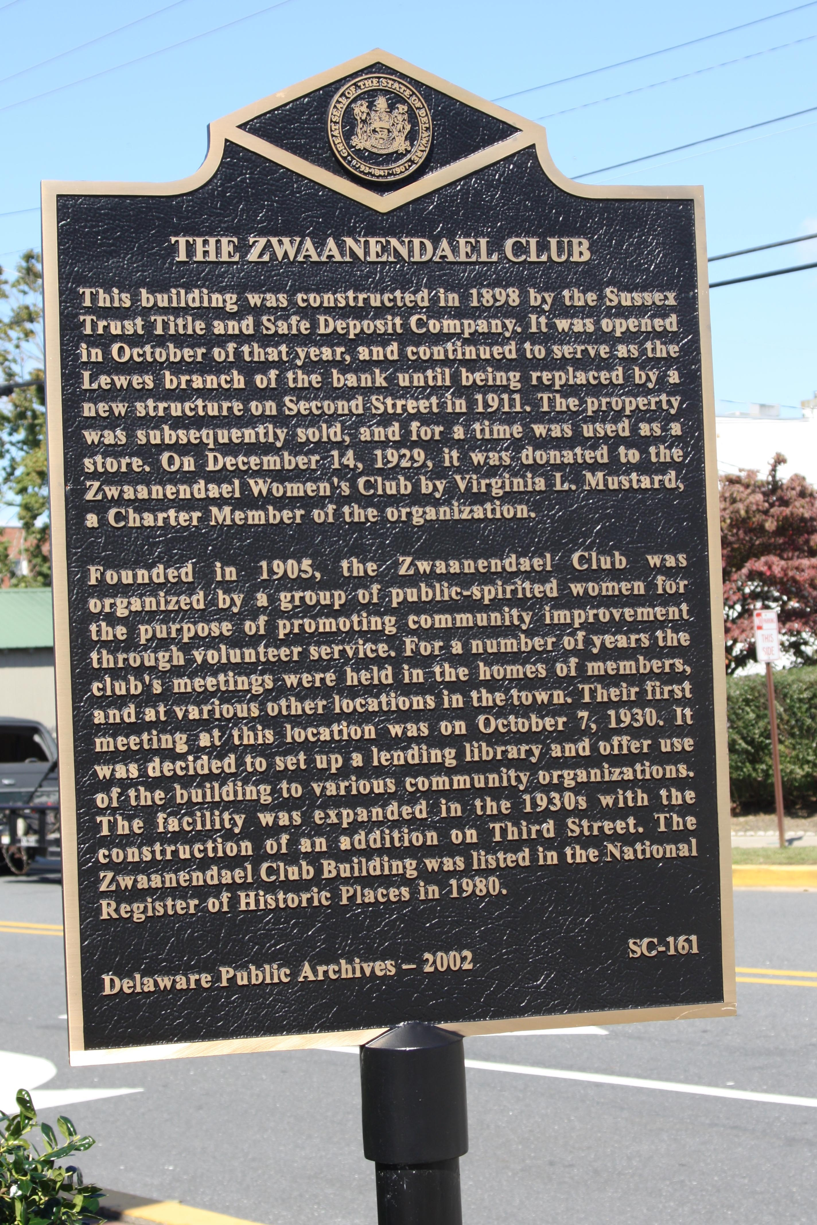 The Zwaanendael Club Marker
