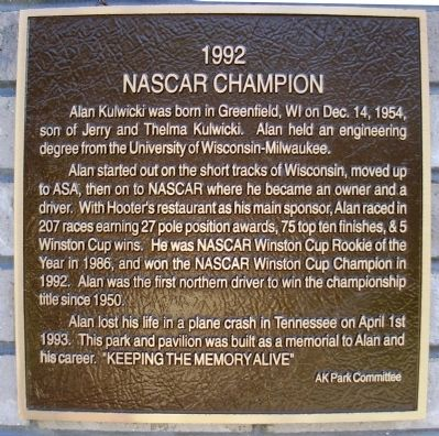 1992 NASCAR CHAMPION Marker image. Click for full size.