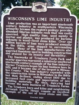 Wisconsin's Lime Industry Marker image. Click for full size.