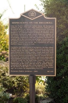 Shipbuilding on the Broadkill Marker image. Click for full size.