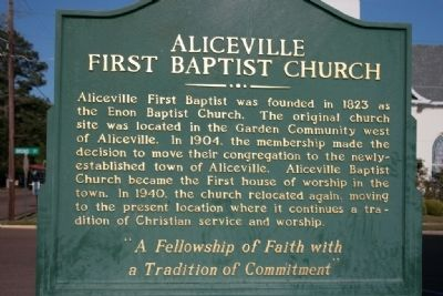 Aliceville First Baptist Church Marker image. Click for full size.