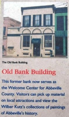 Abbeville County Marker -<br>Old Bank Building image. Click for full size.