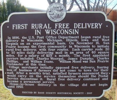 First Rural Free Delivery in Wisconsin Marker image. Click for full size.