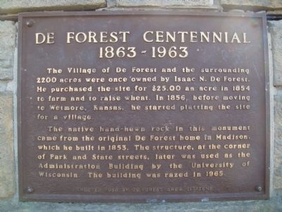 De Forest Centennial Marker image. Click for full size.