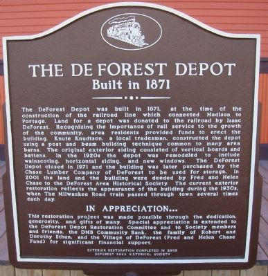 The De Forest Depot Marker image. Click for full size.