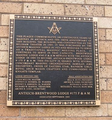 F & AM - Antioch-Brentwood Lodge #175 Building Marker image. Click for full size.