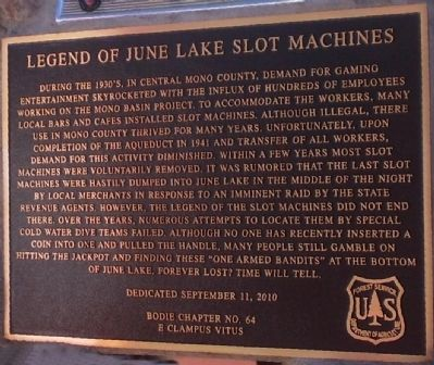 Legend of June Lake Slot Machines Marker image. Click for full size.