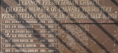 Lebanon Presbyterian Church Rght Plaque image. Click for full size.