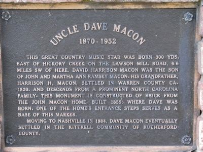 Uncle Dave Macon Marker image. Click for full size.