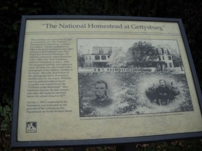 """The National Homestead at Gettysburg"" Marker image. Click for full size."