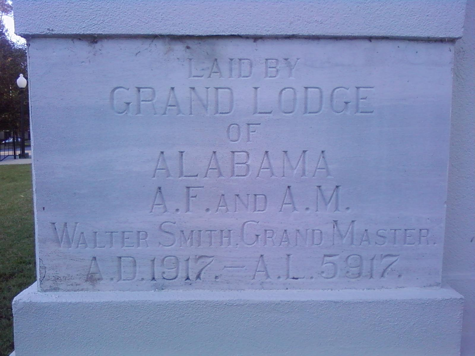Helion Lodge No. 1 cornerstone