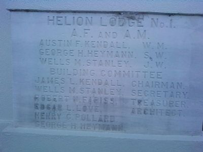 Helion Lodge No. 1 cornerstone image. Click for full size.