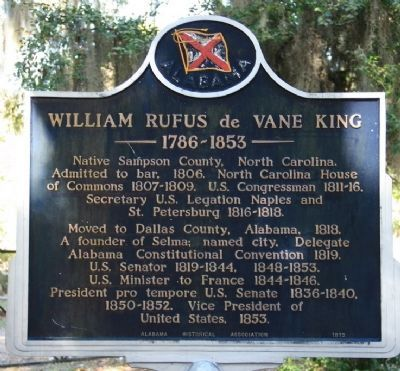 William Rufus de Vane King Marker image. Click for full size.