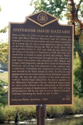 Governor David Hazzard Marker image. Click for full size.