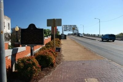 The Selma Movement Marker and The Edmund Pettus Bridge image. Click for full size.