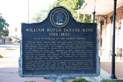 William Rufus DeVane King 1786-1853 Marker image. Click for full size.