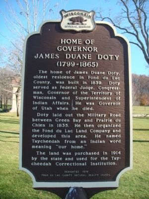 Home of Governor James Duane Doty Marker image. Click for full size.