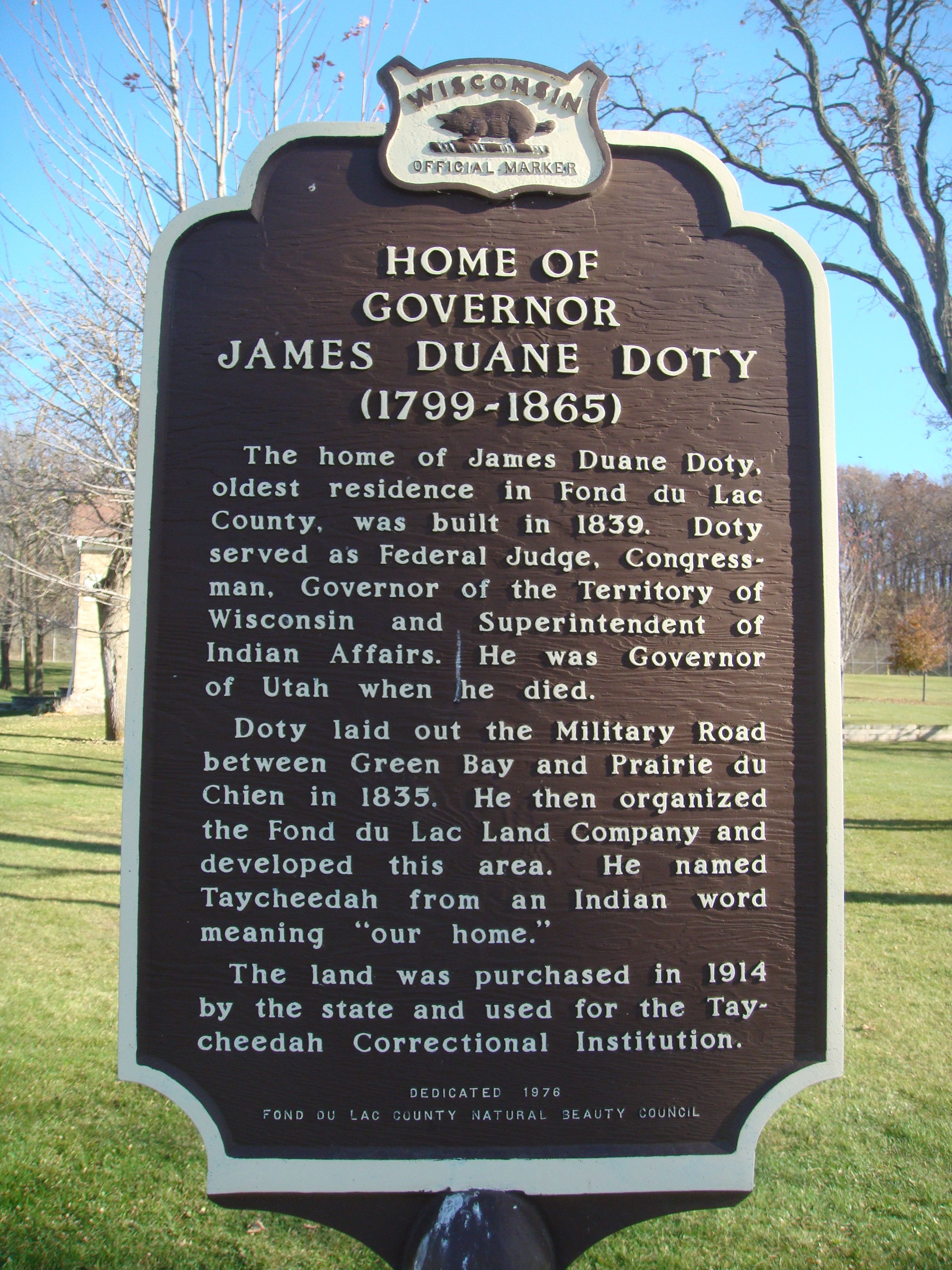 Home of Governor James Duane Doty Marker