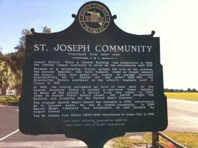 St. Joseph Community Marker (backside) image. Click for full size.