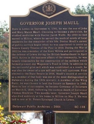 Governor Joseph Maull Marker image. Click for full size.